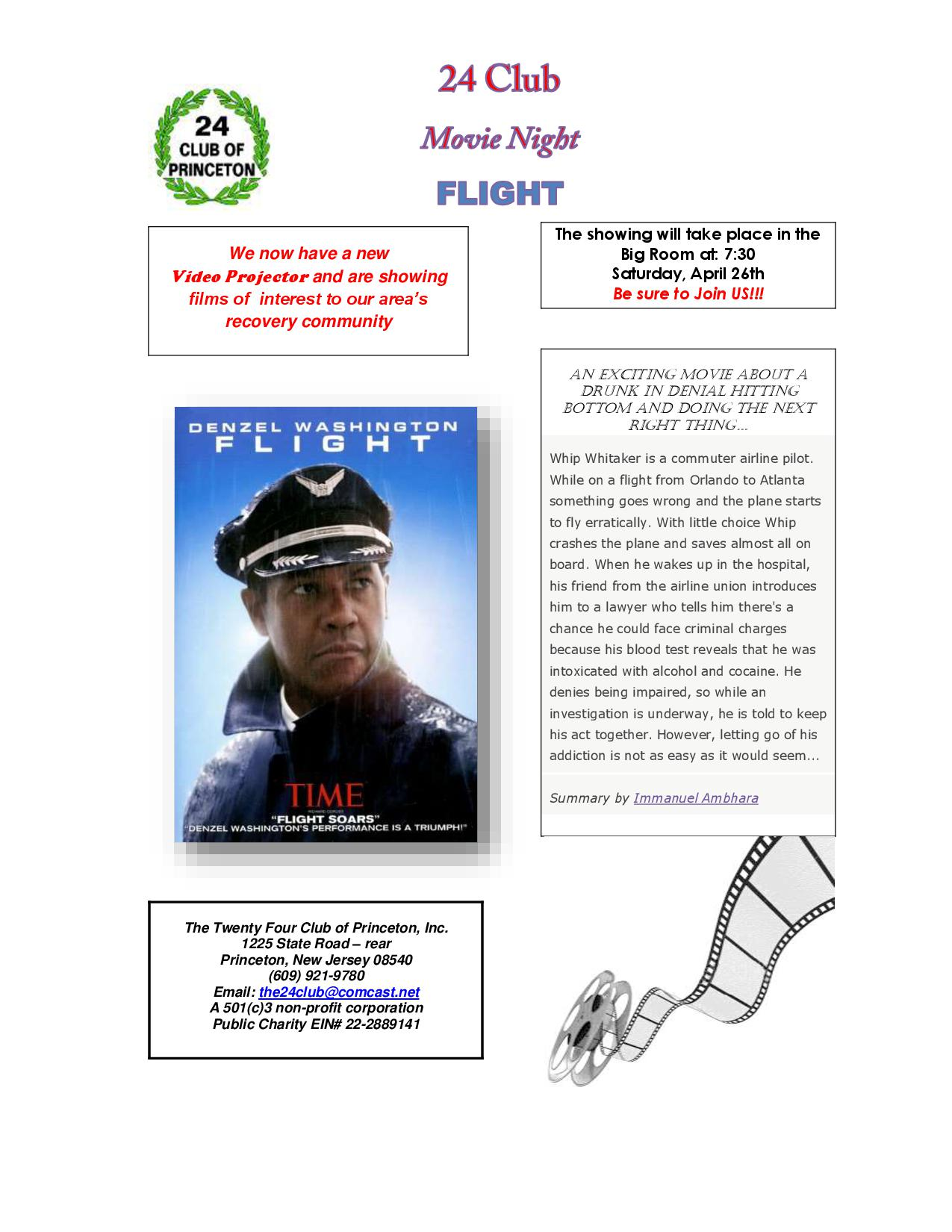 Movie Nite Flyer - FLIGHT 4-26-14